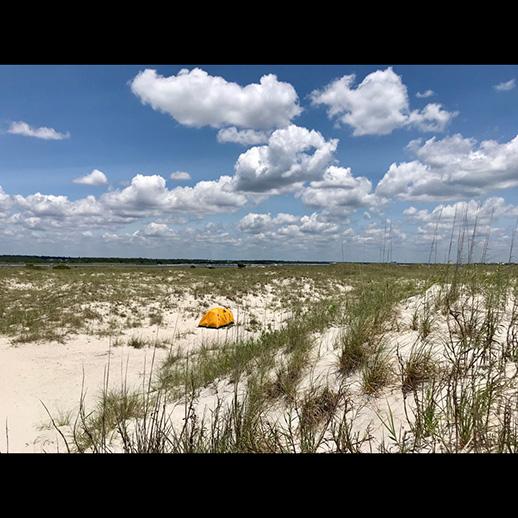 Tent on Masonboro Island beach
