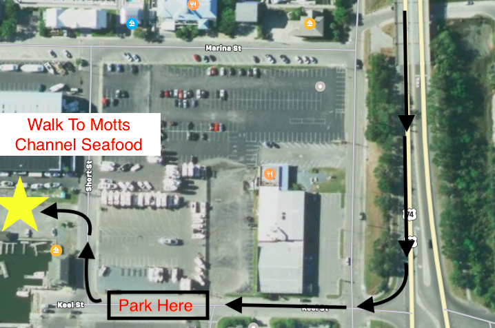 Map showing where to park for boat tours